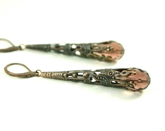 Steampunk Earrings Amethyst Dangle Earrings Antiqued Copper Jewelry
