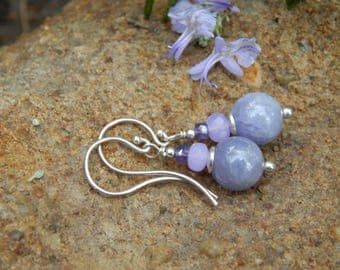 Tidbits of Tanzanite Earrings - Lovely Rare Tanzanite Gemstone w Czech Glass & Argentium Silver Ear Wires
