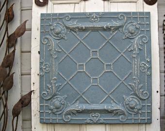 Tin Ceiling Tile. 2'x2' FRAMED Metal tile. Antique Architectural salvage, Blue metal wall decor. Vintage metal.