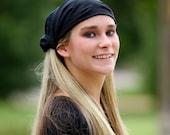Solid Black Headband, Black Headscarf, Pre Tied Head Scarf, Solid Head Cover, Black Extra Wide Headwrap (#2601) S M L X
