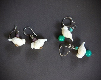 Carved Bone Bird Earrings Dainty Hand Carved White Birds from Bali with Amethyst Accents on Sterling Hooks Nature Jewelry