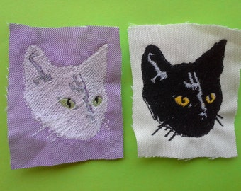 Black or White Cat Embroidered Patch