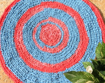 """rag rug, vintage red coral, red coral powder room, """"braided"""" rug, baby girl bedding, red coral and blue, nautical decor, nautical nursery"""