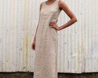 Vintage Flax Linen 1990's Sandstone Tan Minimalist Column Side Slit Maxi Dress S/M