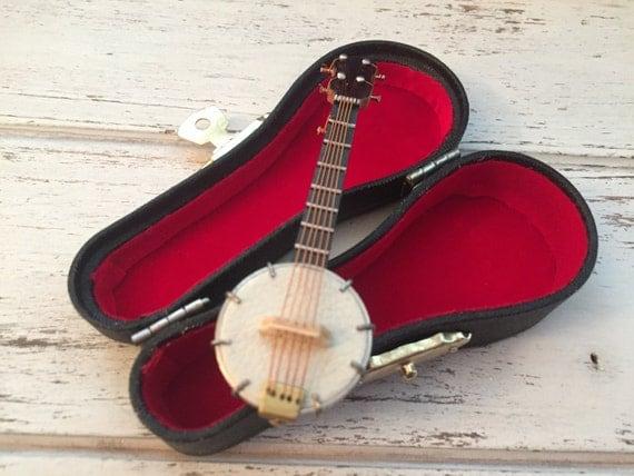 """Miniature Banjo with Case, Miniature Music, Mini Accessory, Decor, Mini 3"""" Banjo, Instrument"""