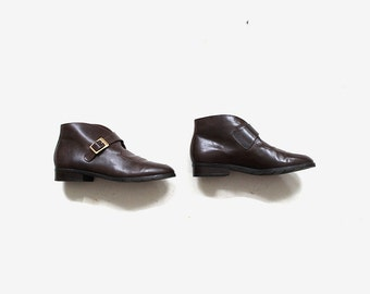 Vintage Ankle Boots 7 / Brown Leather Boots / Buckle Boots / Ankle Boots Women