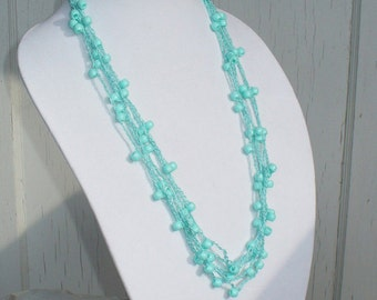 Crochet Necklace Multistrand Turquoise Ocean Blue with Turquoise Beads,