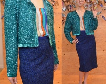 vintage 80's teal sequined cropped cocktail jacket medium / large