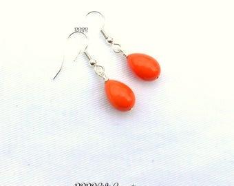 Orange Teardrop Earrings Simple Dangles Beaded Earrings Bright Silver Plated Drop Earrings BBBBGiftsCom under 2 inches