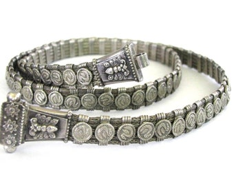 "Vintage Indian Snake Chain Belt, 5 Braided Strands, 86 Separators, Heavy, Solid, High Grade Silver, Rajasthani Belt, 75cm(29 1/2""), 145Grams"