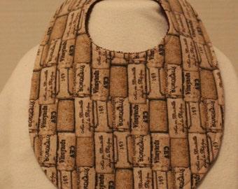 Wine Cork Flannel / Terry Cloth Bib