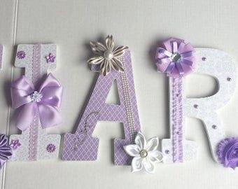 Lavender Custom Decorated Nursery letters, custom wood letters, nursery decor, letters, custom wall letters
