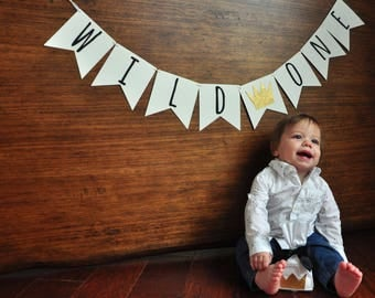 Wild One Banner. Wild One First Birthday Banner. Handcrafted in 1-3 Business Days. Wild One Party Decor. Where the Wild Things Are Party.