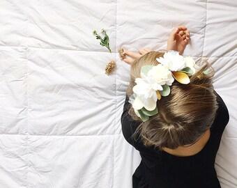 Felt Flower Headband Crown Hair Halo, Wedding Flower Girl, White Flowers, giddyupandgrow