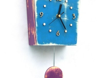 Pendulum clock, Wall clock with pendulum, Blue Wall Clock, Wall hanging clock, Wall decor, Distressed clock