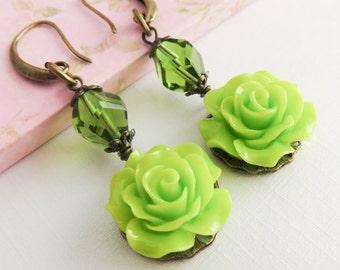 Lime green flower earrings, dangle earrings, romantic rose jewelry, gift for her, rustic earrings