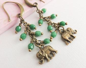 Elephant earrings, green dangle earrings, wildlife jewelry, greenery, long earrings, beaded jewelry