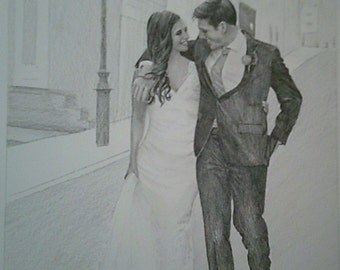 Custom Portrait From Your Photo - 8x10 Family Wedding Original Pencil Sketch Drawing