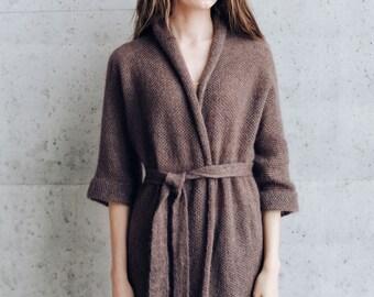 Women's Kimono Jacket. Long Kid Mohair Silk Kimono Robe. Knitted Cardigan. Ready to ship.