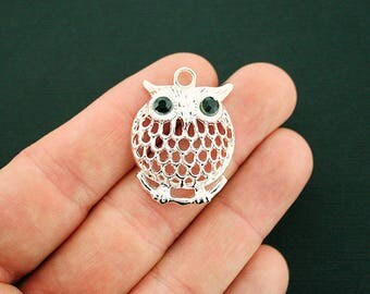 5 Owl Charms Antique Silver Tone with Unique Black Eyes - SC6676