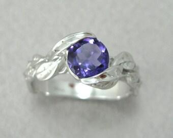 Amethyst Engagement Leaf Ring, Leaf Engagement Ring, White Gold Amethyst Leaf Ring, Gold Leaf Ring, Leaves Ring, Natural Floral Forest Ring
