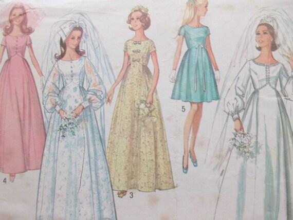 Vintage Simplicity 8640 Sewing Pattern 1960s Wedding Dress