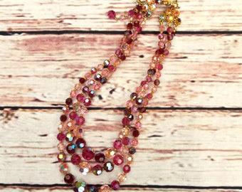 Aurora Borealis Necklace - 50s Vintage Necklace - Pink Glass Necklace - Aurora Borealis Jewellery - Wedding Necklace