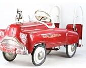 Vintage Fire Truck Pedal Car, Murray Sad Face Fire Truck Pedal Car,  1951 Fire Engine Pedal Car, 1950's Pedal Car, City Fire Dept Pedal Car