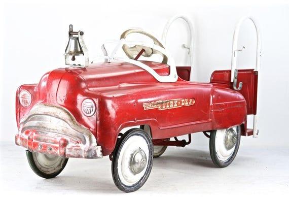 Fire Truck Pedal Car: Vintage Fire Truck Pedal Car Murray Sad Face Fire Truck Pedal