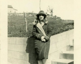 "Vintage Photo ""Hiding Her Expected Bundle of Joy"" Snapshot Antique Photo Old Black & White Photograph Found Paper Ephemera Vernacular - 18"