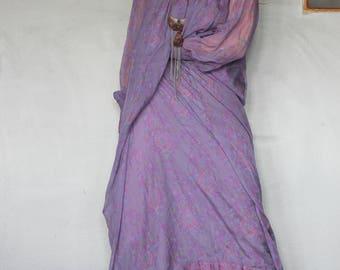 Vintage Hippie 70s India Silk Dress Bohemian Rare Treacy Lowe London Flowing Poet Sleeve Long Dress