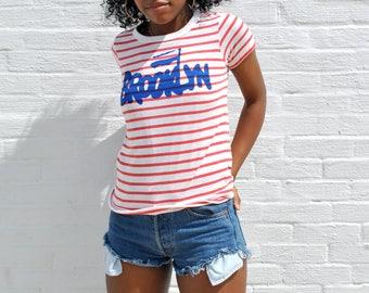 Solidarity Brooklyn Top - Polish Brooklyn Shirt - Women's Ultra-Soft Striped Tee - Solidarnosc Typography Tshirt - Badass Brooklyn T-shirt
