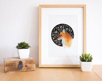 Fox illustration, fox art print, fox watercolor, fox wall art, Fox print, animal print, woodland animals, woodland print, woodland nursery