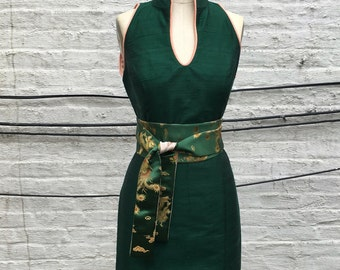 Emerald green and Blush Silk Shantung Modern Cheongsam Dress