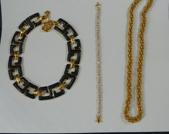 1980s Three Piece Vintage Jewelry Set Napier Monet Gold Rope Necklace Dark Navy Blue Enamel Link Clear Tennis Bracelet Costume 3-Piece Lot