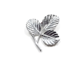 Sarah Coventry Vintage Leaf Brooch Silver Tone Textured Mid Century