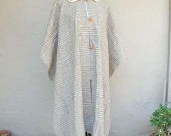 Vintage Womens Plaid Wool Poncho Shawl Cape Ethnic Natural Hippie Gypsy Bohemian Preppy Classic Boho Fashion Light Warn Knit Button Down
