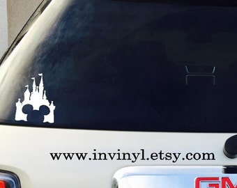 Car Window Decal MICKEY Castle - CAR DECAL - Mickey Mouse, Ears, Vinyl Decal Only