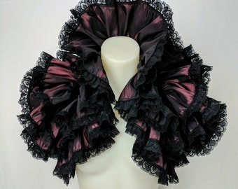 Steampunk Ruffle Shawl, gothic shrug, Victorian wrap Bolero, Burning Man