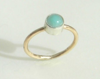 Aqua Blue Amazonite Stacking Ring, 14 20 Gold Filled Band, Solitaire Stone, Silver Bezel, Metalsmith Handmade Ring, Amazonite Cabochon, Gold