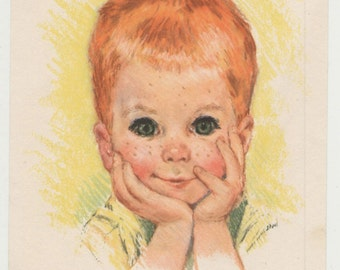 Vintage 1960s Frances Hook Sturdy Little Red Headed Boy Print