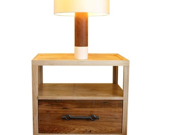 Franklin Side Table Nightstand-Midecentury Table with Reclaimed Wood