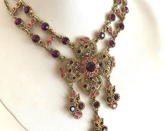 Gold Filigree Crystal Purple Stone Pink Stone  Collar Necklace Bib Necklace Statement Necklace Large Pendant Necklace