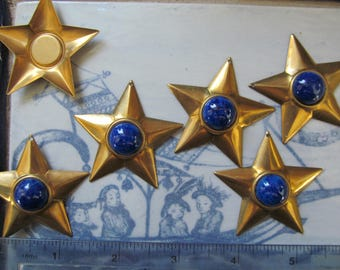 3- Large (2 Inch) Star With Glass Lapis Cabochon