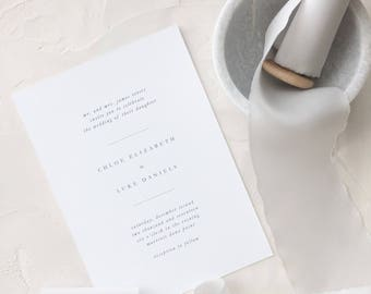 Simple Wedding Invitation Sample - Chloe | Letterpress Wedding Invitation | Grey Wedding Invitation | Gray Wedding Invitation