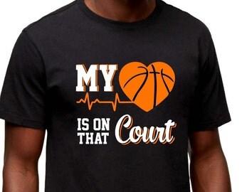 My heart is on that court basketball Dad Shirt - Men Custom T-Shirt
