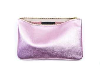 JANE Pink Leather Clutch. Metallic Pink Leather Clutch. Soft Pink Leather Clutch