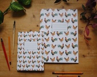 Rooster and hen notebook, chicken notebook, animal notebook