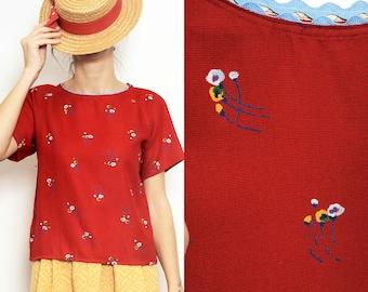 Handmade cotton gauze red flowers Shirt Blouse [Julia's shirt/Red]