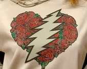 Heart of Roses Hoodie - Grateful Dead Parking Lot Art- Roses and Bolt -deadhead soft pullover hoodie for men or women -Dead And Co Lot gear